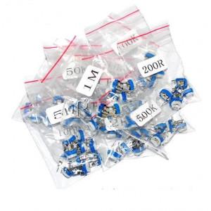Набор переменных резисторов 100ОМ-1МОМ RM065 13 значений по 5 штук