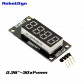 Модуль 4-значный 7-сегментный LED дисплей, 30x14мм, clock colon, драйвер TM1637