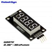 Модуль 4-значный 7-сегментный LED дисплей, 30x14мм, decimal point, драйвер TM1637