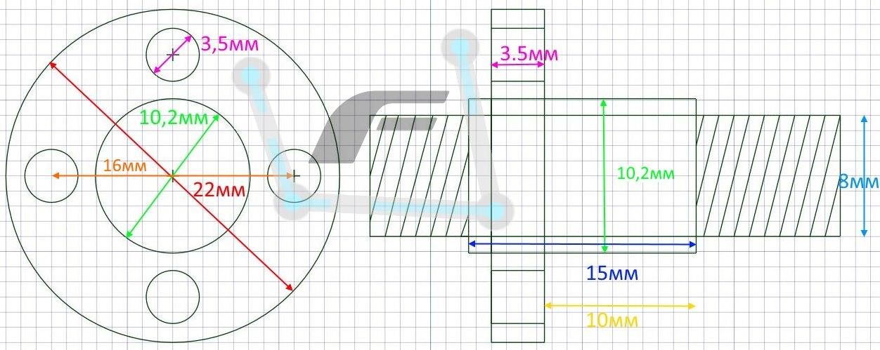 Размер гайки T8